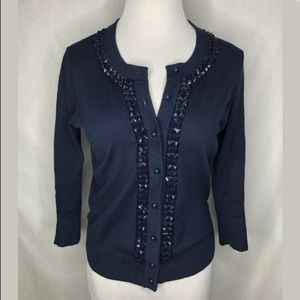 Kate Spade Navy Blue Cotton Button Front Cardigan